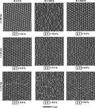 Sequence of MFM images of 803140 cobalt nanostructures on a widely spaced (s5600 nm) triangular array